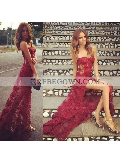 Charming Sheath Sweetheart Side Slit See Trough Lace Long Burgundy Prom Dresses 2021