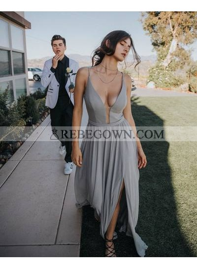Charming A Line Chiffon Silver Sweetheart Side Slit Prom Dresses 2020