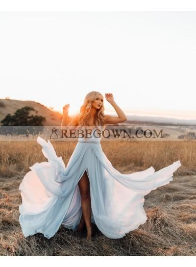 2021 Cheap A Line Chiffon Light Sky Blue Sweetheart Beaded Side Slit Prom Dresses