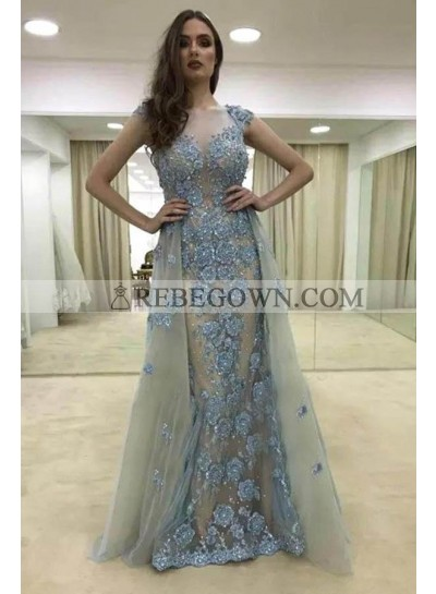 2021 New Designer Sheath Gray Tulle and Blue Appliques Capped Sleeves Prom Dresses