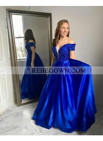 2021 Elegant A Line Satin Off Shoulder Sweetheart Beaded Long Royal Blue Prom Dresses