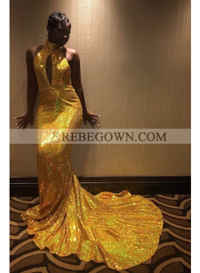Amazing Mermaid  Gold Key Hole High Neck Backless African American Long 2021 Prom Dresses