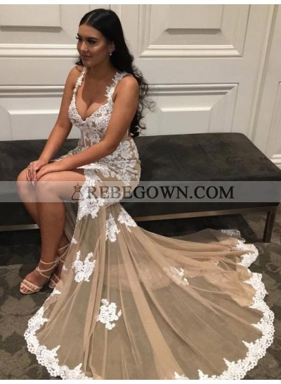 Charming Sheath Sweetheart Champagne and White Appliques Tulle Lace Up Back Prom Dresses 2021