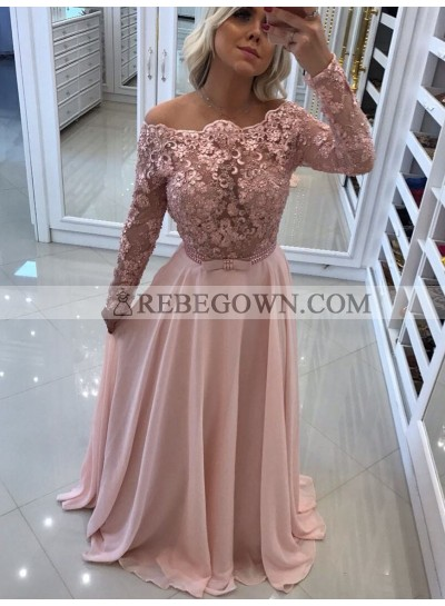 2021 Elegant A Line Long Sleeves Chiffon Blushing Pink Backless Lace Prom Dresses