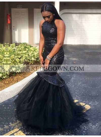 2020 Mermaid  Black Sleeveless Tulle Sequence Backless African American Long Prom Dresses