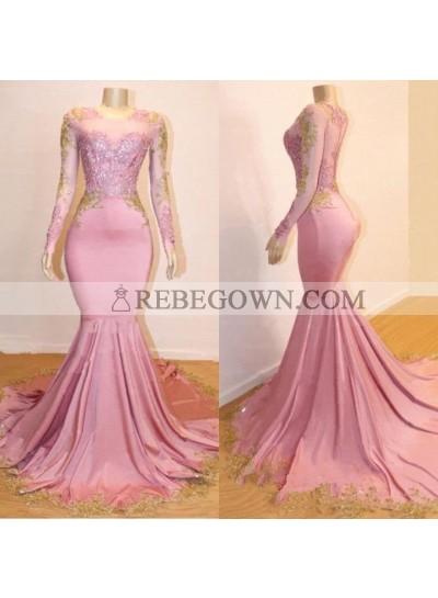 Mermaid  Long Sleeves Blushing Pink Sweetheart African American Long Prom Dresses 2021