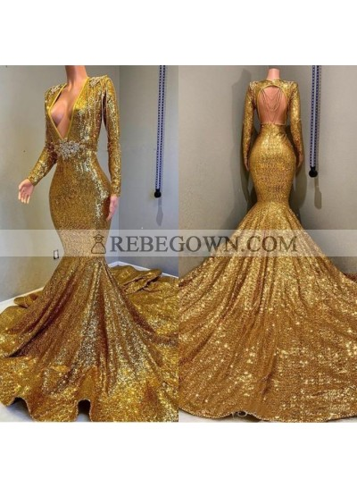 2021 Sexy Mermaid  Gold V Neck Backless Long Sleeves Sequence African American Prom Dresses