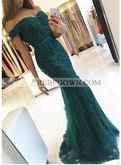 2021 New Arrival Dark Green Off Shoulder Short Sleeves Sweetheart Tulle Mermaid  Appliques Prom Dresses