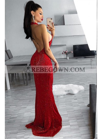 Sexy Red Sheath Halter Backless Sequence Long Prom Dresses 2020