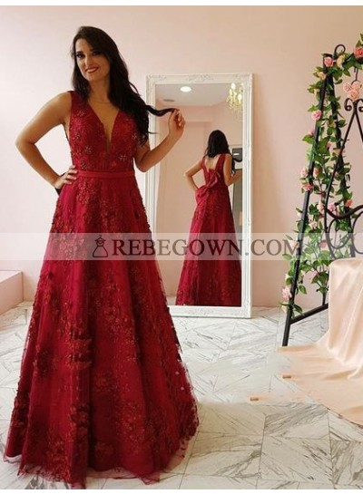 2020 Newly A Line V Neck Bowknot Back Tulle Floral Red Prom Dresses