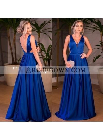Elegant A Line Satin Royal Blue V Neck Backless Long 2020 Prom Dresses