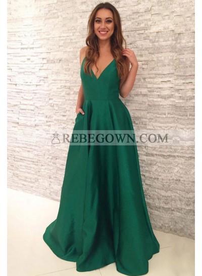 Cheap A Line Satin Emerald V Neck Backless Long Prom Dresses 2020