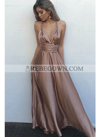 Cheap Sweetheart Elastic Satin Rose Gold Lace Up Halter A Line 2021 Backless Prom Dresses