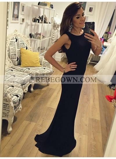 2021 New Arrival Black Sheath Backless Long Scoop Prom Dresses