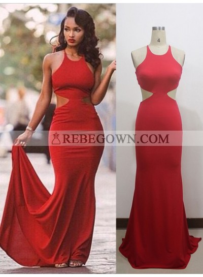 2020 Red Sheath Halter Lace Up Back Long Backless Prom Dresses