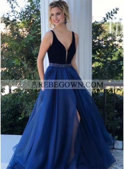 2020 Charming A Line V Neck Chiffon Side Slit Beaded Long Royal Blue and Black Prom Dresses