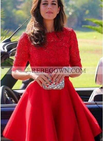 2021 Cute A Line Red Knee Length Half Sleeves Lace Short Tulle Prom Dresses