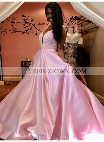 Cheap A Line Satin Pink V Neck Long Backless Prom Dresses 2021