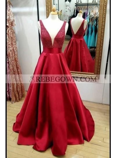 2021 Elegant A Line Satin Red Beaded V Neck Backless Long Prom Dresses