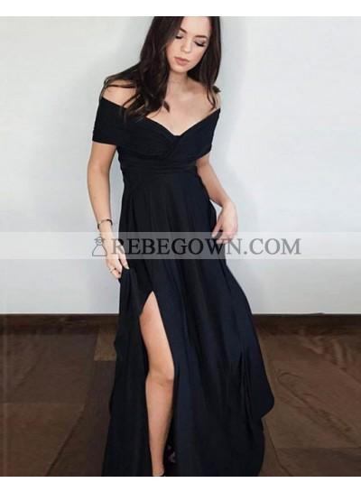 2020 New Arrival A Line Black Off Shoulder Side Slit Short Sleeves Prom Dresses