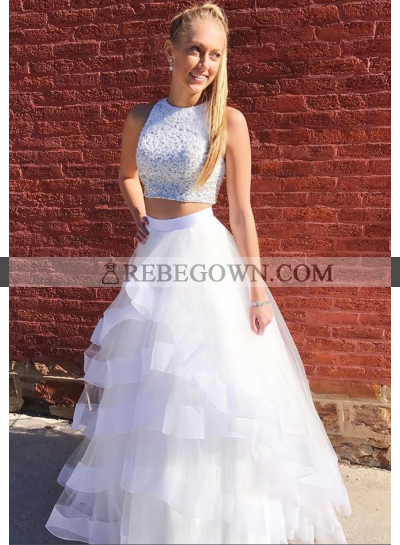 2021 New Arrival A Line White Tulle Ruffles Two Pieces Beaded Prom Dress
