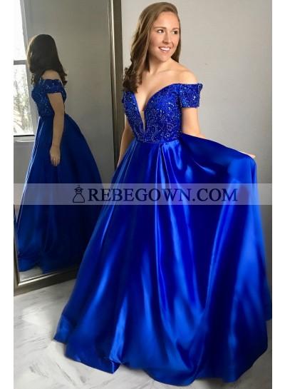 New Arrival A Line Elastic Satin Royal Blue Off Shoulder Sweetheart Bead 2020 Prom Dress