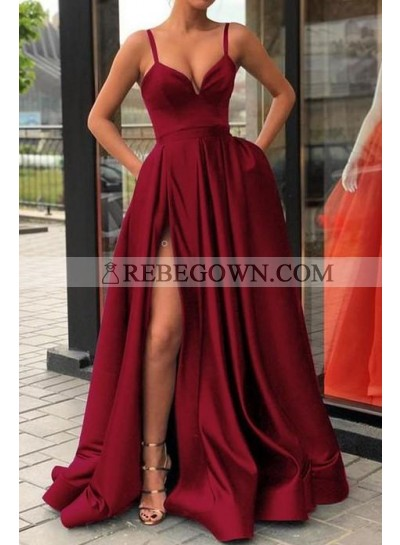 2020 New Designer A Line Sweetheart Satin Burgundy Long Prom Dress