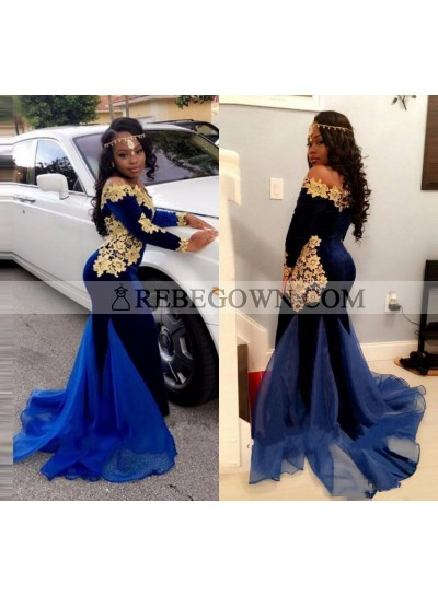 2021 Mermaid  Royal Blue and Gold Appliques Velvet Long Sleeves Off Shoulder South African Long Prom Dress