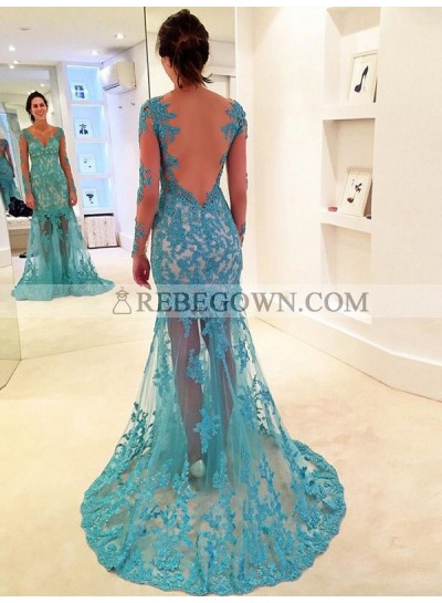 Newly Sheath Long Sleeves Lace Backless Sweetheart Tulle Blue Prom Dress 2021