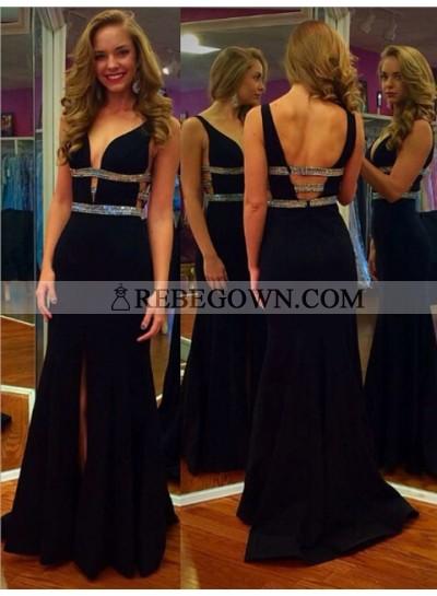 2020 Charming Black Sheath Side Slit Beaded Sweetheart Backless Prom Dress
