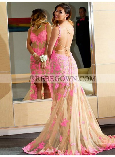 Charming Sheath Champagne and Pink Appliques Lace Up Back High Low Prom Dress