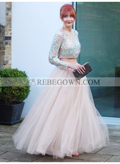 Charming A Line Tulle Long Sleeves Pearl Pink Two Pieces 2020 Prom Dress