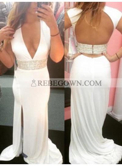 Amazing White Sheath V Neck Side Slit Backless Long Prom Dress 2020