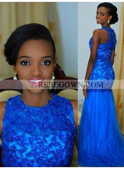 2020 Amazing Royal Blue Mermaid  Tulle and Appliques African American Long Prom Dress
