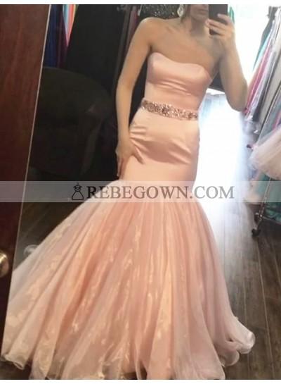 2020 New Arrival Mermaid  Sweetheart Peach Satin Organza Long Prom Dress