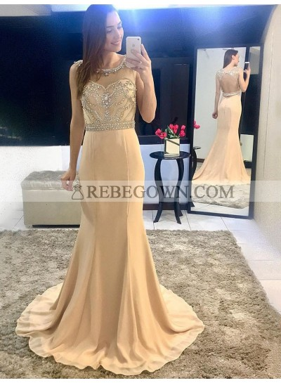 2020 New Arrival Mermaid  Chiffon Champagne Beaded Backless Scoop Long Prom Dress