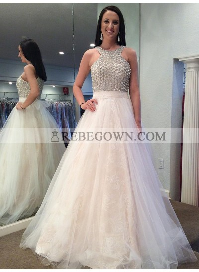 2021 New Arrival Tulle A Line White Halter Beaded Prom Dress