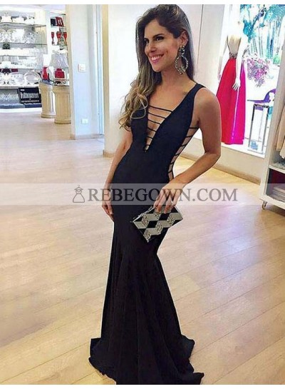 Sexy Black Mermaid  Deep V Neck Long Prom Dress 2020