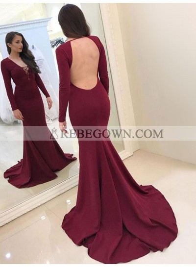 2021 Sexy Mermaid  Burgundy Satin Long Sleeves Backless V Neck Long Prom Dress