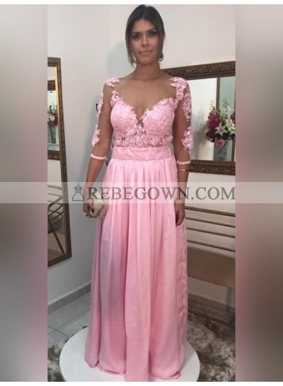 Cheap A Line Satin Pink Long Sleeves See Through Sweetheart Prom Dress 2021