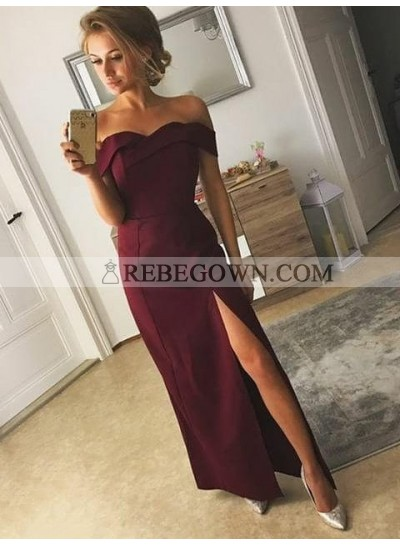 Grape Sheath Satin Off Shoulder Sweetheart Side Slit Cheap Prom Dress