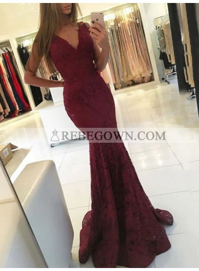 Sexy Mermaid  Burgundy V Neck Lace Sleeveless Long Prom Dress 2020