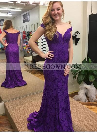 Amazing Sheath Regency Lace Off Shoulder Sweetheart Long Prom Dress 2020