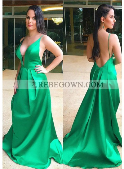 Loose A Line Green Satin Deep V Neck Backless Plus Size Prom Dress