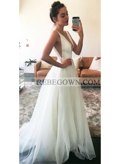 Cheap A Line White Deep V Neck Chiffon Long Prom Dress 2021