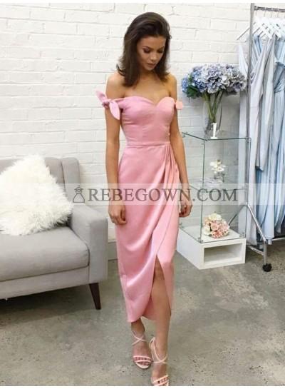 2021 Charming Pink Sheath Off Shoulder Sweetheart Bowknot Tea Length Short Prom Dress
