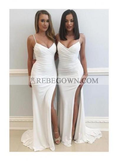 2021 Sexy Pleated White Sheath Sweetheart Chiffon Side Slit Prom Dress