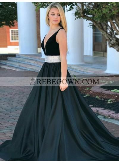 2021 New Arrival A Line Satin Deep V Neck Black Silver Sash Prom Dress