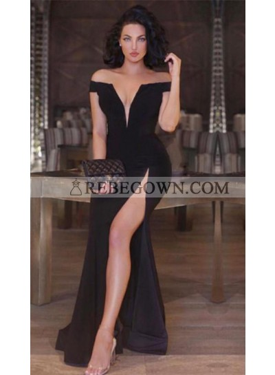 2021 Sexy Black Off Shoulder V Neck Sheath Side Slit Prom Dress