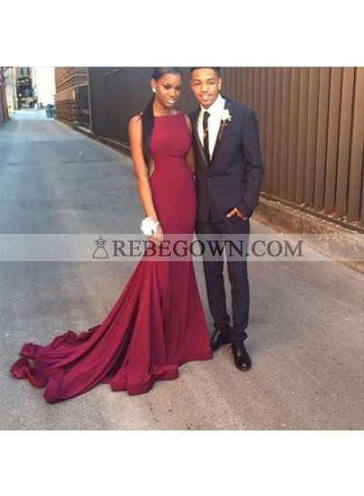2021 Sexy Mermaid  Burgundy Long Train African American Backless Prom Dress